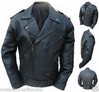 Black CE ARMOURED Motorcycle Marlon Brando Cruiser Retro Leather Jacket XS - 8XL