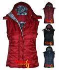 Womens black sleeveless hoody quilted body warmer gilet ladies hood coat jacket