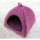 New Sweet Pet Dog Cat Tent House Bed Pink/Brown Heart Grid Small,Medium,Large