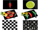 BLACK TEMPERED GLASS CHOPPING BOARD CUTTING WORKTOP SAVER PROTECTOR 6 DESIGNS