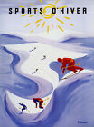 WINTER Sport D'Hiver Ski Race Mountain French Vintage Poster Repo FREE S/H