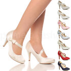 WOMENS LADIES BRIDAL WEDDING PROM PARTY HIGH HEEL CLASSIC PUMPS SHOES SIZE
