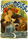 Beer Biere Meuse Lady Flowers Paris Alphonse Mucha Vintage Poster Repo FREE S/H