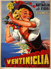 Beauty Italian Girl Flowers 1957 Ventimiglia Italy Vintage Poster Repo FREE S/H