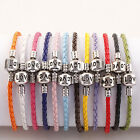 Wholesale Multicolor Leather Love Clasp European Charms Bracelet 8 Inch