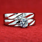 2 pc women 925 Sterling SILVER rhodium pl engagement wedding rings set AAA CZ