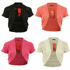 Fiona New Womens Knitted Net Cap Sleeved Ladies Shrug One Size 8-14