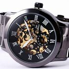 New Mechanical Analog Stainless Steel Leather Skeleton Mens Sport Wrist Watch