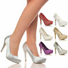 WOMENS LADIES BRIDAL WEDDING PROM PARTY HIGH HEEL PLATFORM PUMPS SHOES SIZE