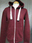 URBAN DIVA LADIES GIRLS PLAIN HOODED TOP WINE RED ZIP UP HIPHOP JACKET
