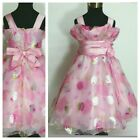 P3388 Pinks Floral Wedding Party Princess Flower Girls Dresses SIZE 3,4,5,6,7,8Y