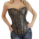 Skull Printing Metallic Faux Leather Overbust Corset Gothic Punk Lace up Basque