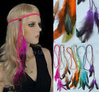 Feather 70s 80s Disco Plaited Braided Head Band  Neon Boho H