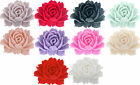 Large cabbage rose resin flat back cabochon flower 44x35mm 3 pieces