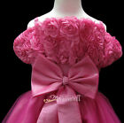 Hot Pink Rosette Pageant Wedding Flower Girls Prom Dress Gown Size 3-12 Age 2-13