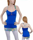 NEW Top Blue Mine Colorful Hem Polyester Rayon Spandex Sleeveless Made in USA