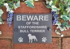 Beware Of The Dog Slate Door Gate House Plaque Sign 17cm x 13cm (Breeds B)
