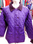 LADIES GIRLS PURPLE POLAR QUILTED DIAMOND STITCHED CORD COLLAR RIDING JACKET