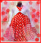 R3120 Reds Polka Dot Girls Dress + White Cardigan SET 2,3,4,5,6,7,8,9,10,11,12T