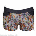 H12D HOT LADIES FLORAL HOTPANTS WITH DENIM LOOK WAISTBAND & POCKETS SIZE 8 - 14