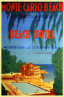 Monte Carlo Monaco Beach Hotel Country Club Travel Vintage Poster Repro FREE S/H