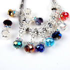 Mixed Lot Multicolor Faceted Crystal Dangle European Beads Fit Charm Bracelet