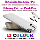 White Pull Tab Case Cover Pouch Slide In Sleeve+Mini Retractable Stylus Pen