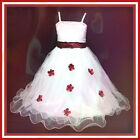 R408 Red White Wedding Celebration Girls Party Dresses AGE SIZE 2-3-4-5-6-7 Year