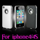 New Stylish Luxury Aluminium Case Cover Fits For iPhone 4 4G 4S & Screen Guard