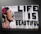 BANKSY LIFE IS BEAUTIFUL GRAFFITI CANVAS PRINT MANY SIZES AVAILABLE FREE UK P&P