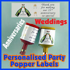 Personalised  WEDDING  Party popper LABELS - Self adhesive - Pre-cut x24 !!!