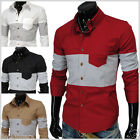 THELEES (DST4) Mens Casual Double Neck Button 2 Tone Pocket Shirts 4 COLOR