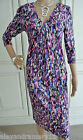 Gorgeous Monsoon Purple White and Blue Print Jersey Dress 8 10 12 14 16 18 20 22