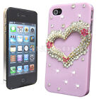 FOR APPLE iPHONE 4 4G 4S LUXURY 3D HEART CRYSTAL DIAMOND CASE BLING HARD COVER