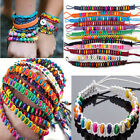 Fashion Braid Mixed Color Handmade Wood Beads Lady Charm Bracelets Wristband 8''