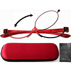 Patent Red Magnifying Eye Makeup Flipup Eyeglasses Glasses w/Hard Case, Contacts