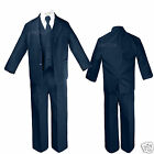 New Born Baby Infant Toddler Boy 5pc Wedding Formal Party Navy Tuxedo Suit S-5