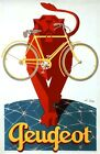 Bicycle Bike Peugeot Vintage Poster French Cycle Lion Reproduction FREE SH