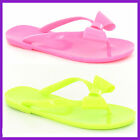 WHOLESALE Ladies Bow Trim PVC Jelly Toepost Sandals   Sizes 3-8 x18prs   F0593