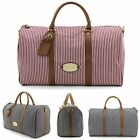 Unihood NWT Stripe Canvas Faux Leather Mens Bag Shoulder Weekend Boston Bags