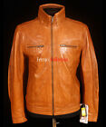 Oasis Tan New Men's Smart Casual Retro Real Soft Sheep Nappa Leather Jacket
