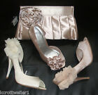 PRIMARK SIZE 345678 NUDE PINK SATIN ROSETTE/CORSAGE WEDDING SHOES *NEW*