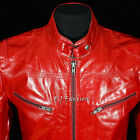 SR02 Red Men's Gent's Smart Casual Real Cowhide Glazed Leather Fashion Jacket