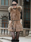 New!!100% Rabbit Fur Raccoon Fur Vest Gilet Waistcoat Coat Fashion 6 Colors Warm