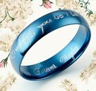 4mm Blue Lord of Ring Elvish Anyword Wedding Anniversary Titanium Ring Court H-U