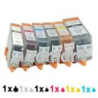 1 set(6pk) Ink Cartridges Compatible with Canon PGI-525 CLI-526 Printers Listed
