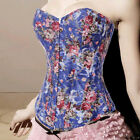 Vintage Rose Floral Overbust Boned Corset Lace up Bustier Body Shaper Top S-2XL