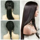 """18""""  Brazilian Silk  Straight 100% Human Hair Full Front lace wigs Baby Hair"""