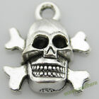D19 Wholesale Antique Silver Plated Skull Charms Cool Alloy Pendants 12.6x10.8mm