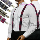 Traditional Vintage Mens Braces adjustable Elastic clip-on Suspenders X Shape
